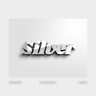Estilo de texto 3d prata