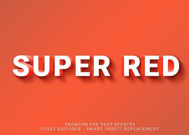 Estilo de texto 3d super vermelho