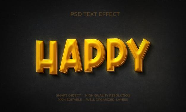Estilo de texto com efeito dourado 3d feliz