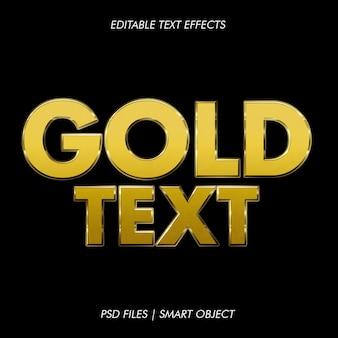Estilo de texto de ouro de maquete 3d