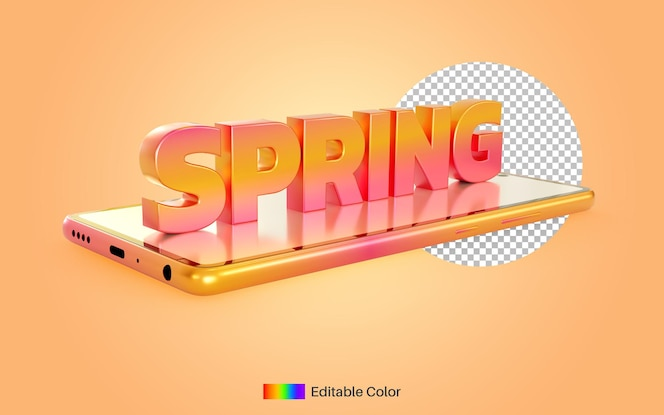 Estilo de texto de primavera em renderização 3d para smartphone