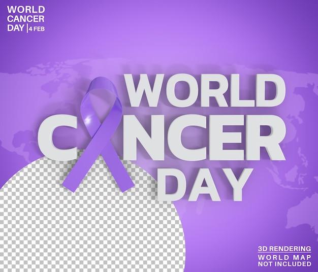 Estilo de texto do dia mundial do câncer, renderização em 3d isolado