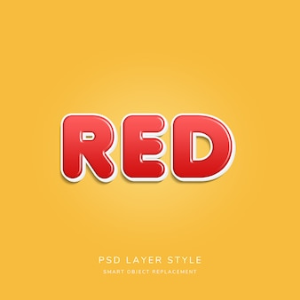 Estilo de texto em 3d vermelho