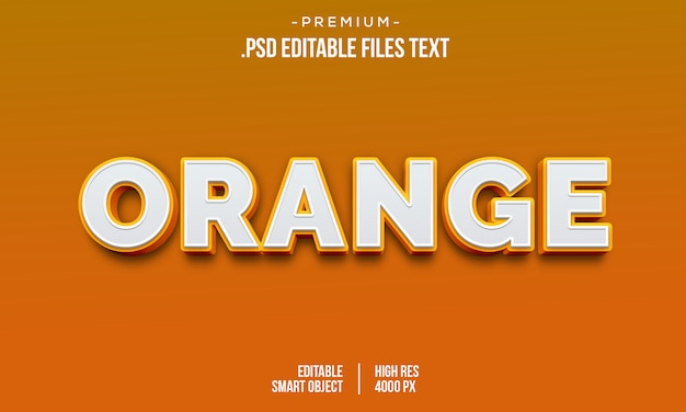 Estilo de texto em negrito gradiente moderno amor laranja 3d