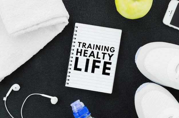 Estilo de vida saudável com maquete do esporte