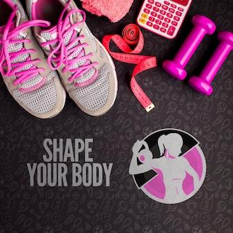 Estilo de vida saudável fitness equipamentos de esporte