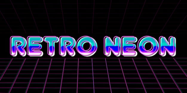 Estilo retrô de efeito de texto de néon dos anos 80