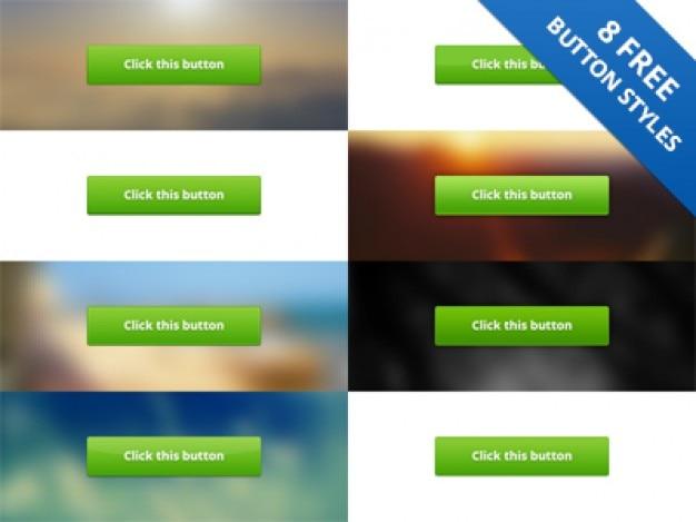 Estilos de botão verde psd