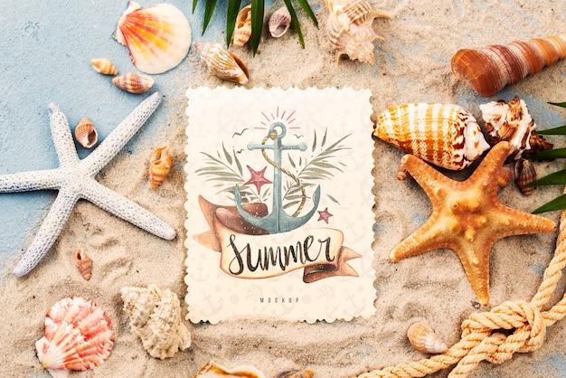 Estrela do mar com citação para o verão