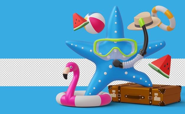 Estrela do mar usando máscara de mergulho com acessório de verão liquidação de verão