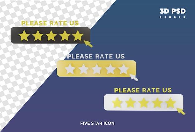 Estrelas avaliando o emblema do ícone de renderização do design 3d isolado