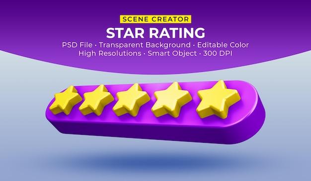 Estrelas avaliando renderização em 3d