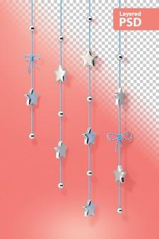 Estrelas decorativas de cromo em uma corda
