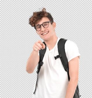 Estudante jovem engraçado rindo de você
