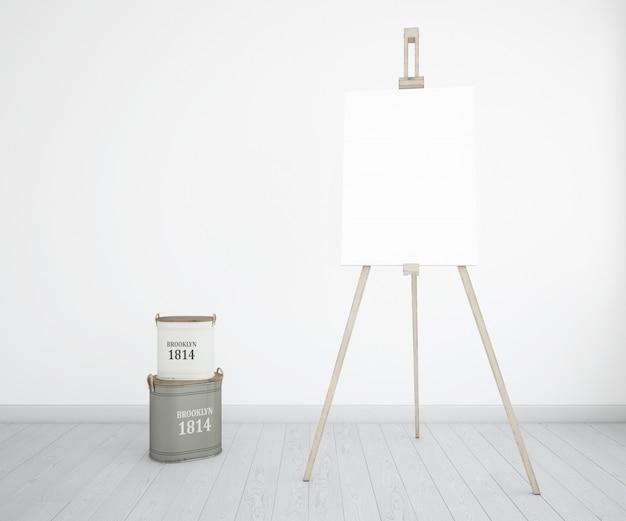 Estúdio de arte com garrafas de lona e tinta