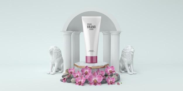 Estúdio de modelo cosmético com pódio e colunas branco cor 3d render