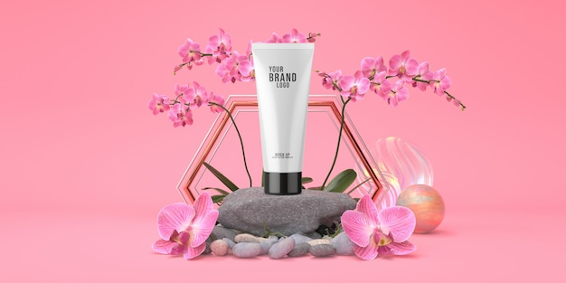 Estúdio de modelo cosmético rosa com pódio de rocha e tubo creme cor pastel 3d render