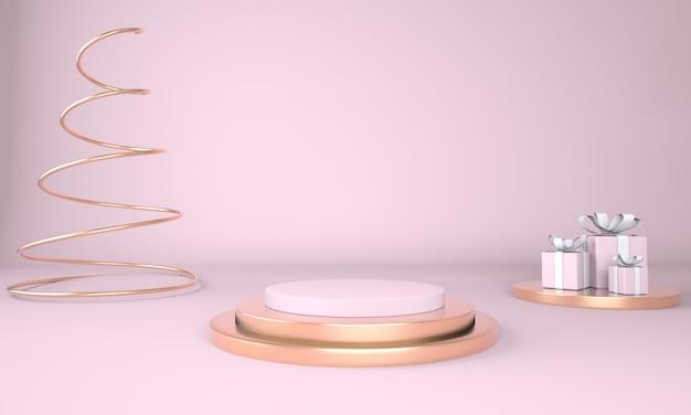 Estúdio de renderização 3d com formas geométricas de pódio no chão