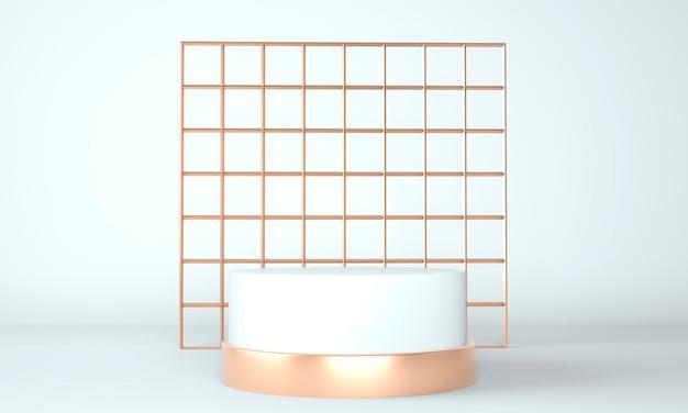 Estúdio de renderização 3d com formas geométricas, pódio no chão. plataformas para apresentação de produtos, simulação de plano de fundo.