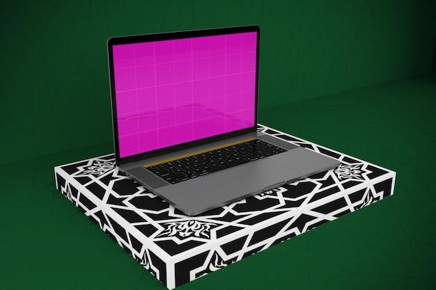 Etapa árabe e maquete de laptop