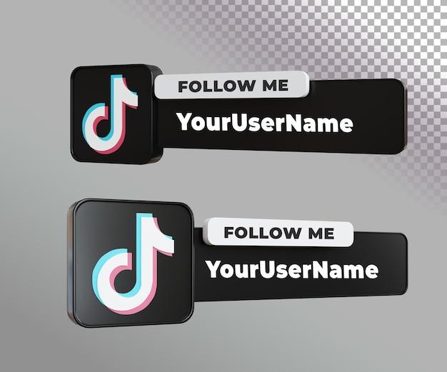 Etiqueta 3d tiktok com modelo de texto e maquete de foto