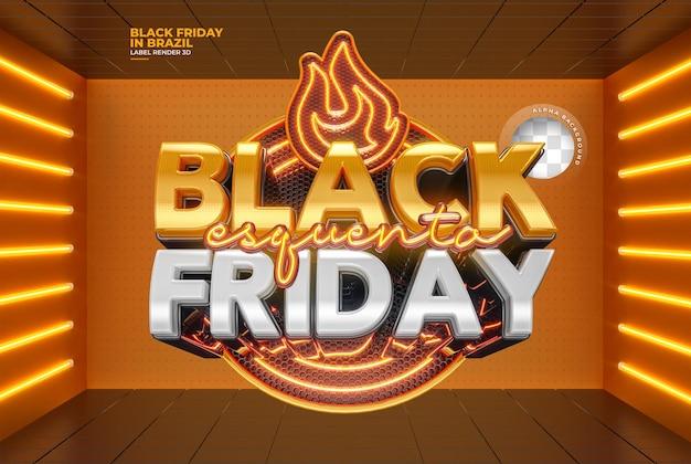 Etiqueta black friday 3d render realista para campanhas de marketing no brasil em português