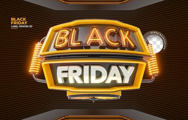 Etiqueta black friday 3d render realista para modelo de oferta de composição