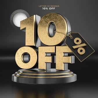Etiqueta da letra 10 desligada renderização 3d em preto e dourado