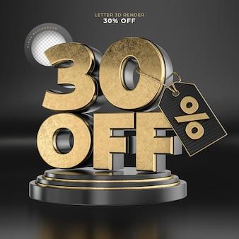 Etiqueta da letra 30 desligada renderização 3d em preto e dourado