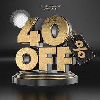 Etiqueta da letra 40 desligada renderização 3d em preto e dourado