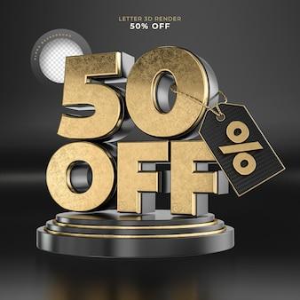 Etiqueta da letra 50 desligado renderização 3d em preto e dourado