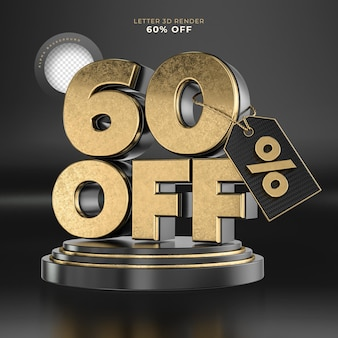 Etiqueta da letra 60 desligada renderização 3d em preto e dourado