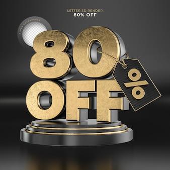 Etiqueta da letra 80 desligada renderização 3d em preto e dourado