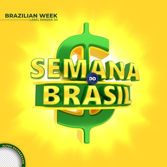 Etiqueta da semana brasileira de renderização em 3d para campanha de marketing