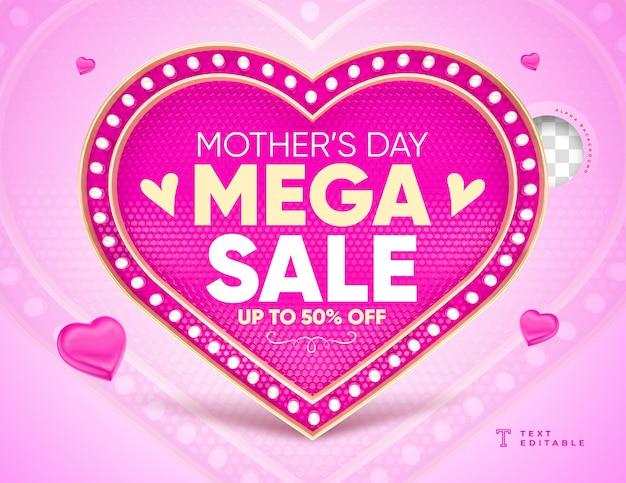 Etiqueta de coração mega sale dia das mães com luzes renderização em 3d