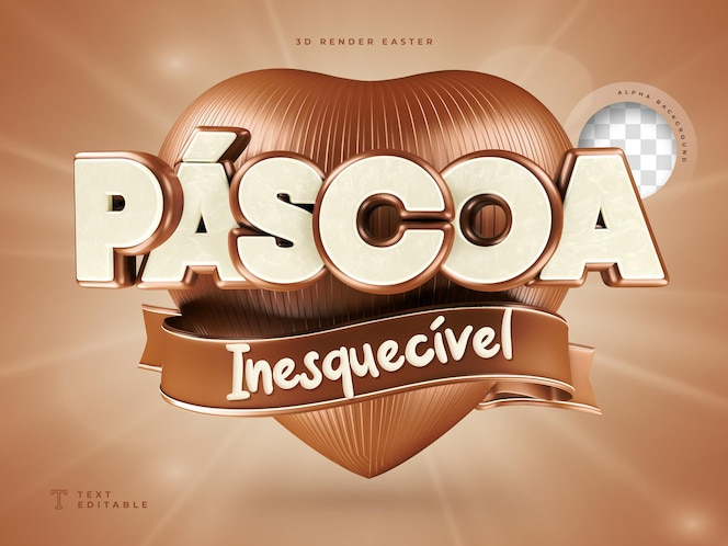 Etiqueta de páscoa 3d em formato de coração brasileiro realista com chocolate