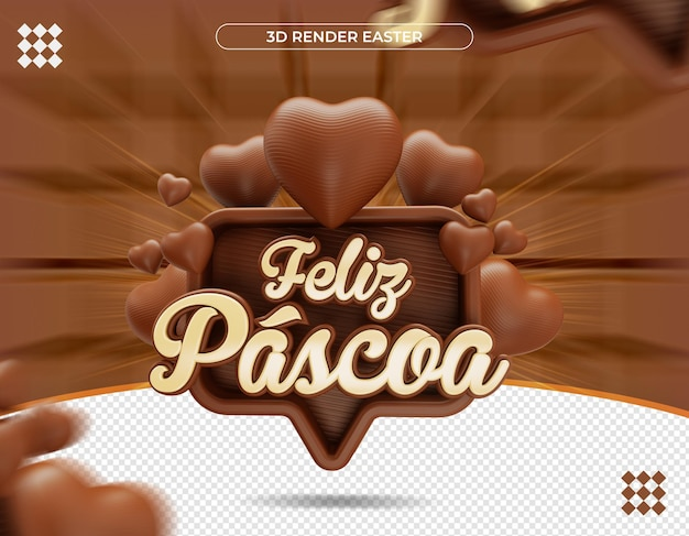 Etiqueta de páscoa 3d em renderização realista brasileira