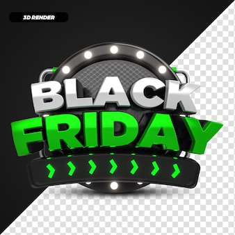 Etiqueta de promoção de oferta 3d render green black friday