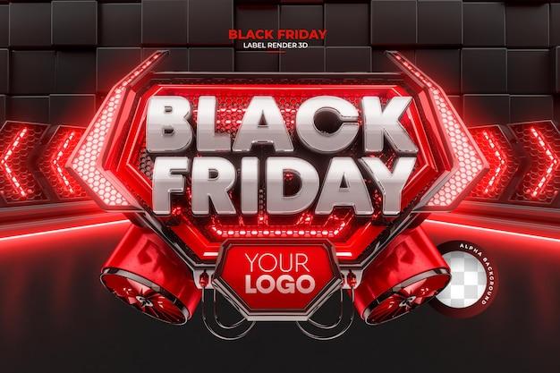 Etiqueta de renderização realista 3d de black friday para campanhas de promoção e ofertas
