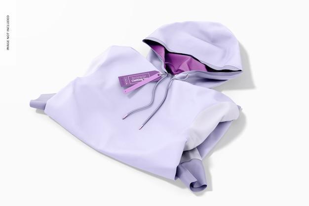 Etiqueta de roupa retangular com maquete de capuz