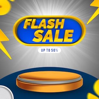 Etiqueta de venda flash 3d render banne