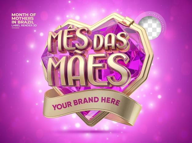 Etiqueta do dia das mães no brasil em 3d realista com coração de diamante