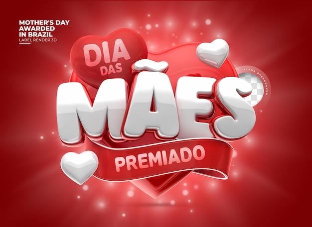 Etiqueta do dia das mães premiada no brasil 3d render com corações