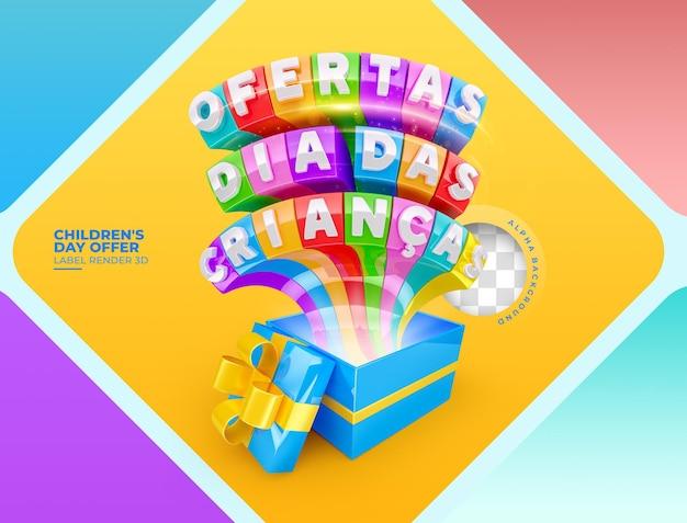Etiqueta oferece renderização em 3d para o dia das crianças no brasil, modelo de design em português