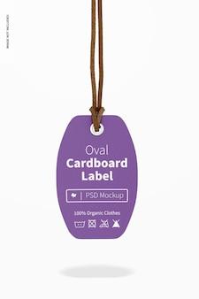 Etiqueta oval de papelão com maquete de corda de couro