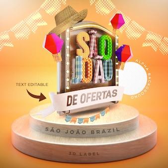 Etiqueta são joao festa junina 3d render brasil balão realista