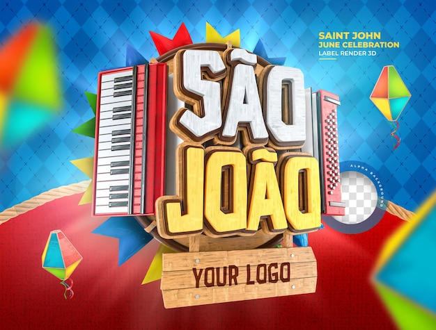 Etiqueta são joão festa junina 3d renderização de balão do brasil realista
