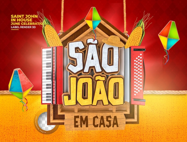 Etiqueta são joão festa junina no brasil 3d renderização de balão de milho realista