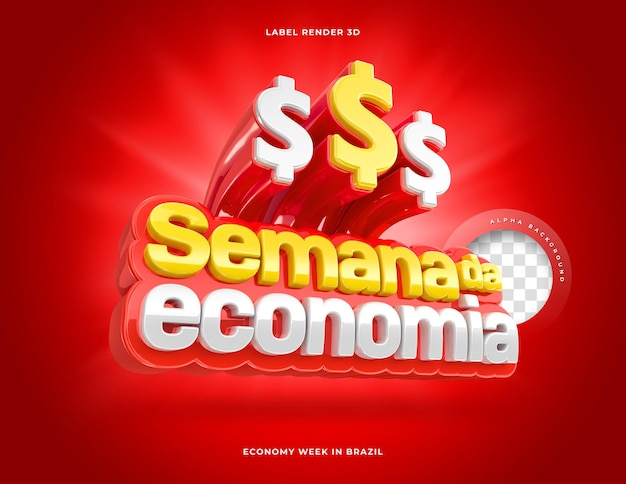 Etiqueta semana da economia no brasil 3d render red
