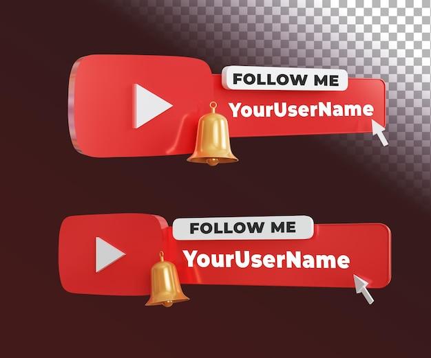 Etiqueta siga-me do youtube 3d com modelo de texto